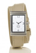 Stainless Steel Rectangular Watch with Double Wrap Strap - Nude Leather