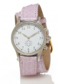 Stainless Steel Round Watch with Double Wrap Strap - Lavender Snakeskin