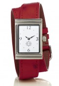 Stainless Steel Rectangular Watch with Double Wrap Strap - Red Ostrich