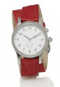 Stainless Steel Round Watch with Double Wrap Strap - Red Ostrich