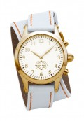 Gold Round Watch with Double Wrap Strap - White Leather Orange