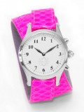 Stainless Steel Round Watch with Double Wrap Strap - Neon Pink Snakeskin