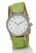 Stainless Steel Round Watch with Double Wrap Strap - Light Green Ostrich
