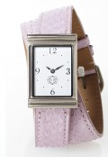 Stainless Steel Rectangular Watch with Double Wrap Strap - Lavender Snakeskin