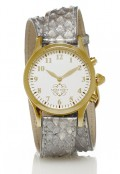 Gold Round Watch with Double Wrap Strap - Silver Snakeskin