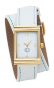 Gold Rectangular Watch with Double Wrap Strap - White Leather Turquoise