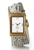 Gold Rectangular Watch with Double Wrap Strap - Natural Snakeskin