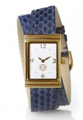 Gold Rectangular Watch with Double Wrap Strap - Navy Snakeskin