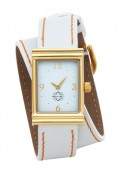 Gold Rectangular Watch with Double Wrap Strap - White Leather Orange