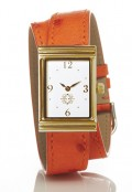 Gold Rectangular Watch with Double Wrap Strap - Orange Ostrich