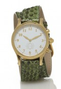 Gold Round Watch with Double Wrap Strap - Green Snakeskin