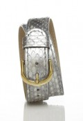 Gold Double Wrap Strap - Silver Snakeskin