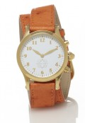 Gold Round Watch with Double Wrap Strap - Orange Ostrich