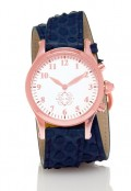 Rose Gold Round Watch with Double Wrap Strap - Navy Snakeskin