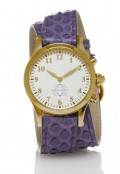 Gold Round Watch with Double Wrap Strap - Purple Snakeskin