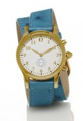 Gold Round Watch with Double Wrap Strap - Turquoise Ostrich
