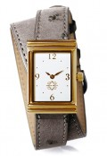 Gold Rectangular Watch with Double Wrap Strap - Grey Ostrich