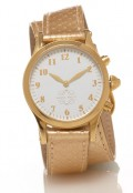 Gold Round Watch with Double Wrap Strap - Gold Snakeskin