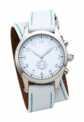 Stainless Steel Round Watch with Double Wrap Strap - White Leather Turquoise