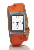 Stainless Steel Rectangular Watch with Double Wrap Strap - Orange Ostrich