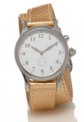 Stainless Steel Round Watch with Double Wrap Strap - Gold Snakeskin