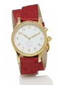 Gold Round Watch with Double Wrap Strap - Red Ostrich