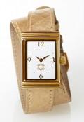 Gold Rectangular Watch with Double Wrap Strap - Gold Snakeskin