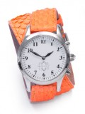 Stainless Steel Round Watch with Double Wrap Strap - Neon Orange Snakeskin