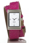 Stainless Steel Rectangular Watch with Double Wrap Strap - Pink Snakeskin