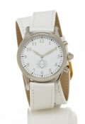 Stainless Steel Round Watch with Double Wrap Strap - White Leather