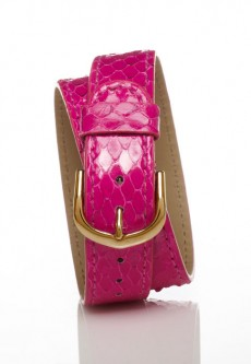 Gold Double Wrap Strap - Pink Snakeskin