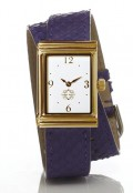 Gold Rectangular Watch with Double Wrap Strap - Purple Snakeskin