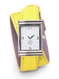Stainless Steel Rectangular Watch with Double Wrap Strap - Neon Yellow Snakeskin