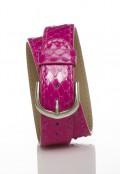 Stainless Steel Double Wrap Bracelet - Pink Snakeskin