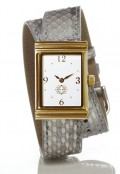 Gold Rectangular Watch with Double Wrap Strap - Silver Snakeskin