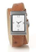 Stainless Steel Rectangular Watch with Double Wrap Strap - Brown Ostrich
