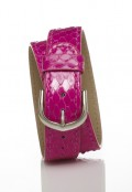 Stainless Steel Double Wrap Strap - Pink Snakeskin