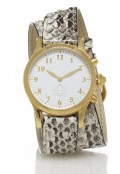 Gold Round Watch with Double Wrap Strap - Natural Snakeskin