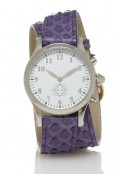 Stainless Steel Round Watch with Double Wrap Strap - Purple Snakeskin