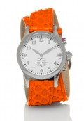 Stainless Steel Round Watch with Double Wrap Strap - Orange Snakeskin