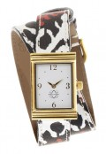 Gold Rectangular Watch with Double Wrap Strap - Black and Red Ikat